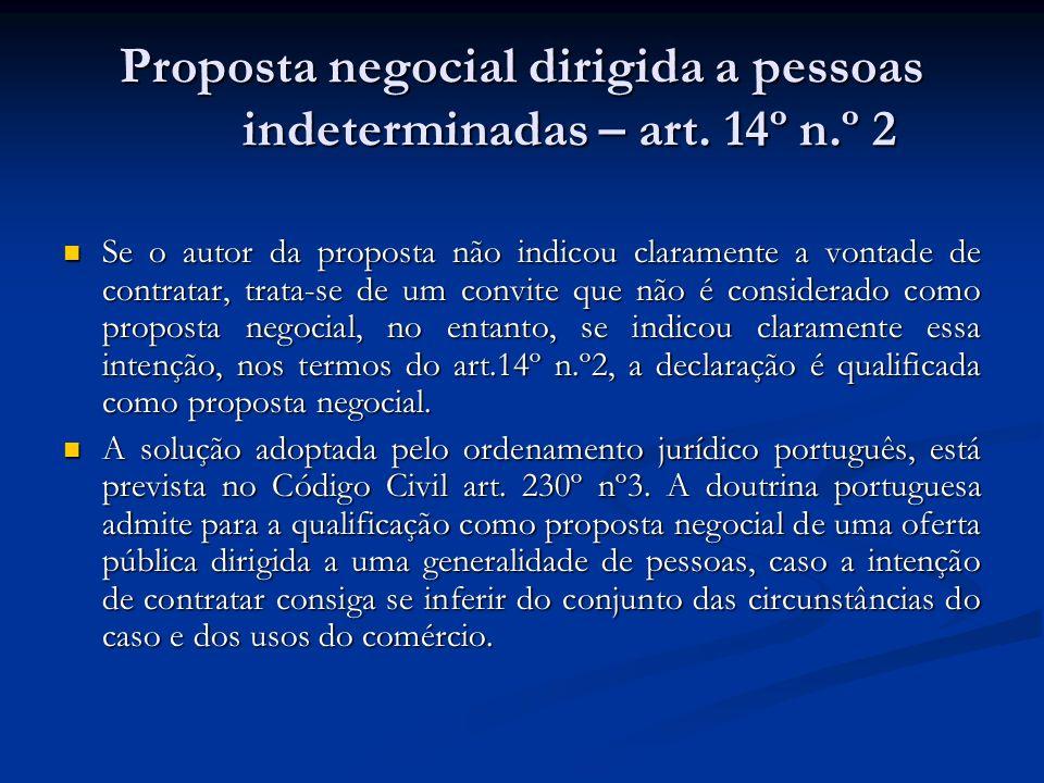 Proposta negocial dirigida a pessoas indeterminadas – art. 14º n.º 2
