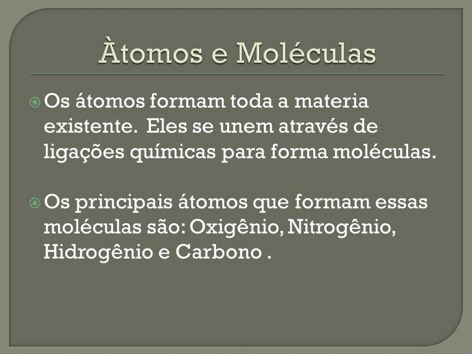 Àtomos e Moléculas Os átomos formam toda a materia existente. Eles se unem através de ligações químicas para forma moléculas.