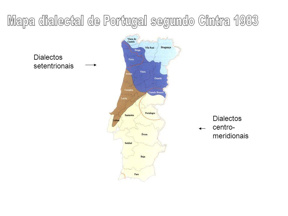 Mapa dialectal de Portugal segundo Cintra 1983