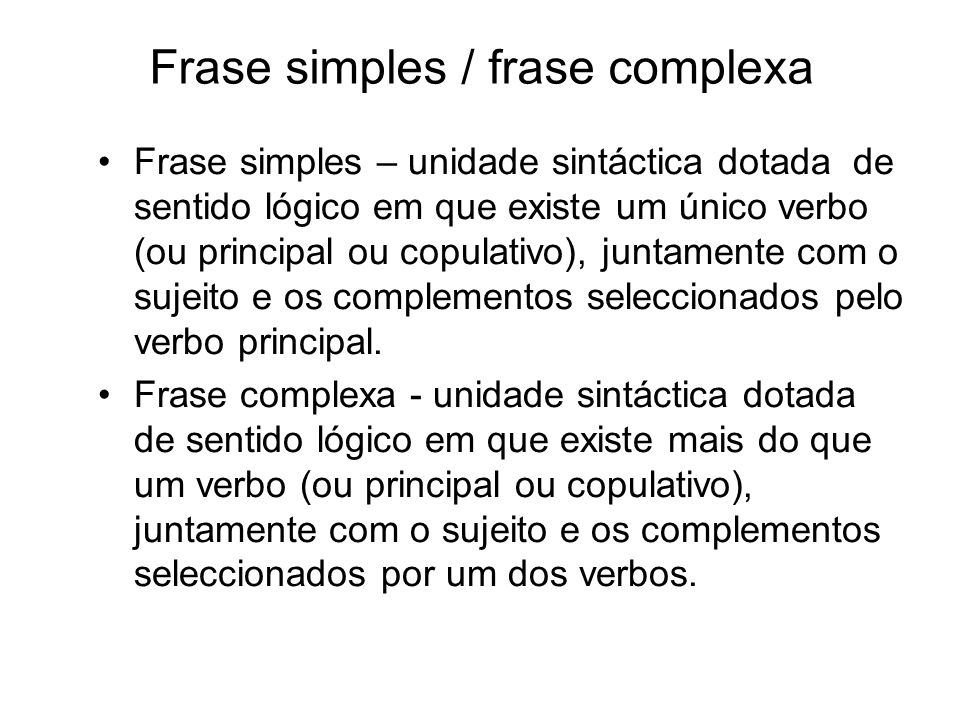 Frase simples / frase complexa