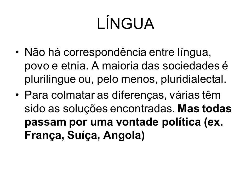 LÍNGUA Não há correspondência entre língua, povo e etnia. A maioria das sociedades é plurilingue ou, pelo menos, pluridialectal.