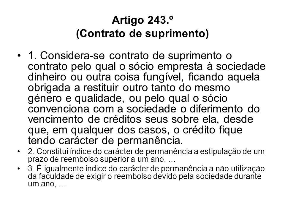 Artigo 243.º (Contrato de suprimento)