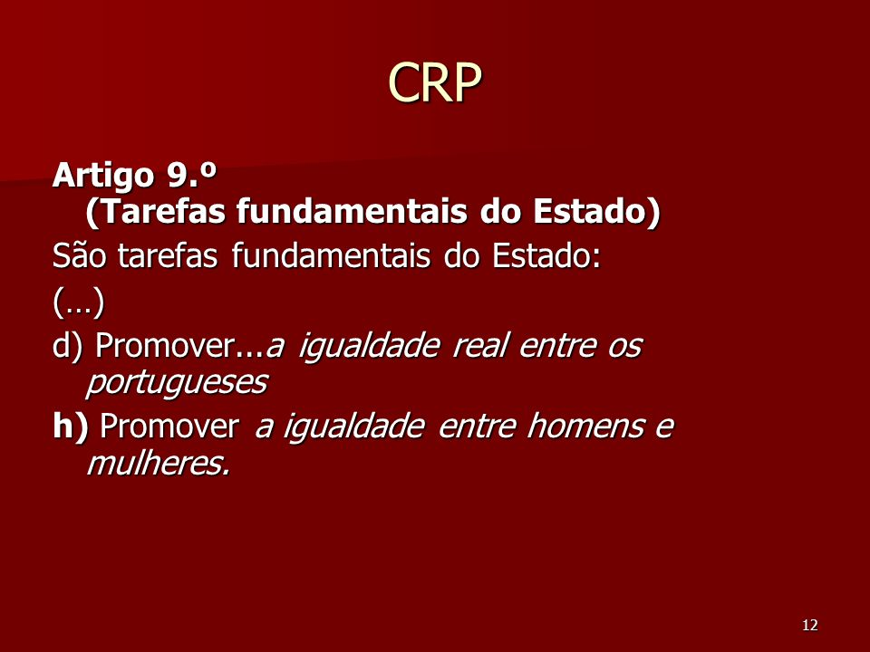 CRP Artigo 9.º (Tarefas fundamentais do Estado)