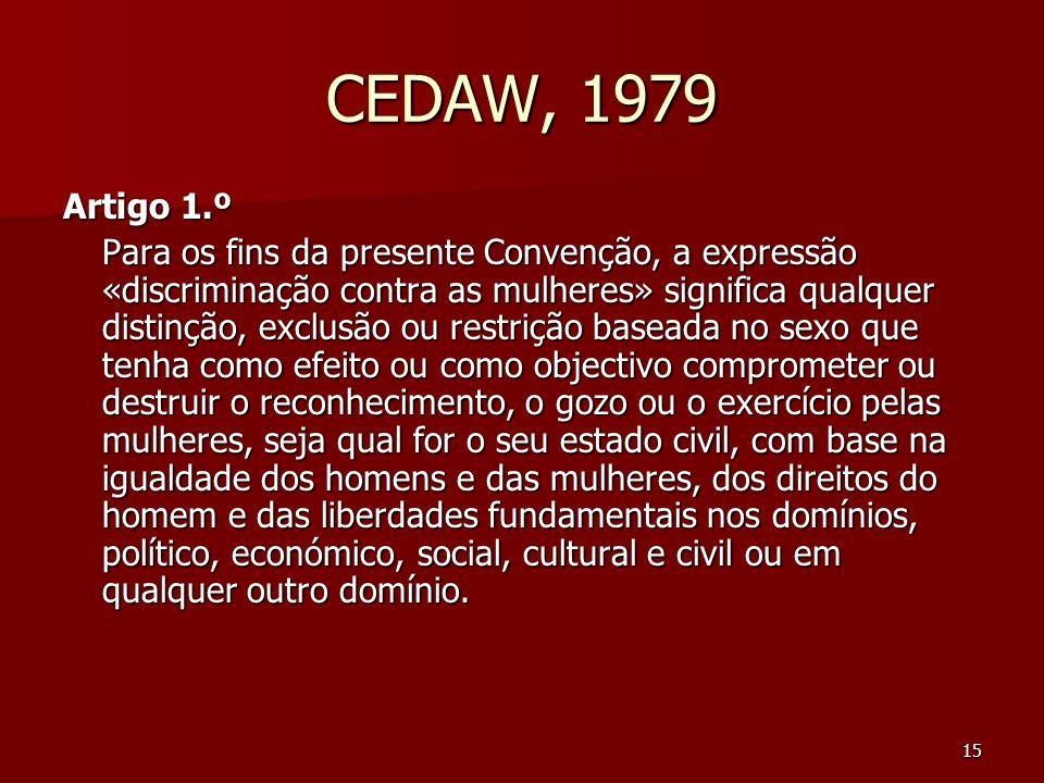 CEDAW, 1979 Artigo 1.º.