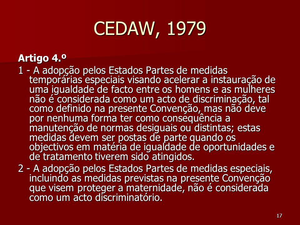 CEDAW, 1979 Artigo 4.º.