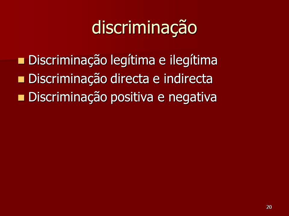 discriminação Discriminação legítima e ilegítima