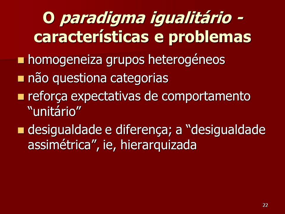 O paradigma igualitário - características e problemas