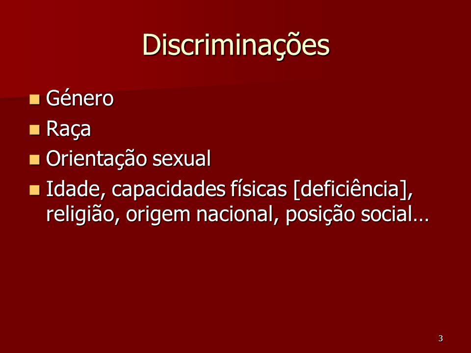 Discriminações Género Raça Orientação sexual