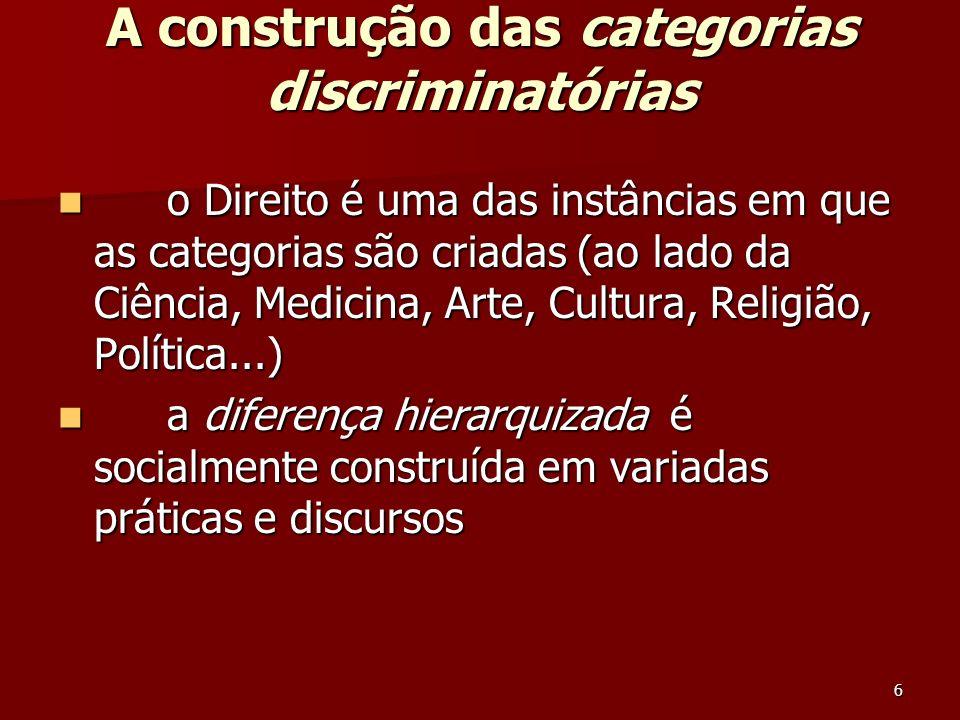 A construção das categorias discriminatórias