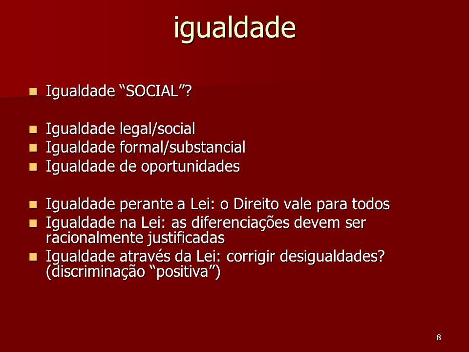 igualdade Igualdade SOCIAL Igualdade legal/social