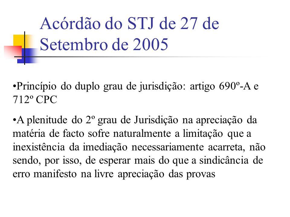 Acórdão do STJ de 27 de Setembro de 2005