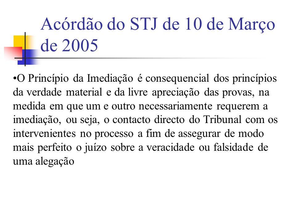 Acórdão do STJ de 10 de Março de 2005