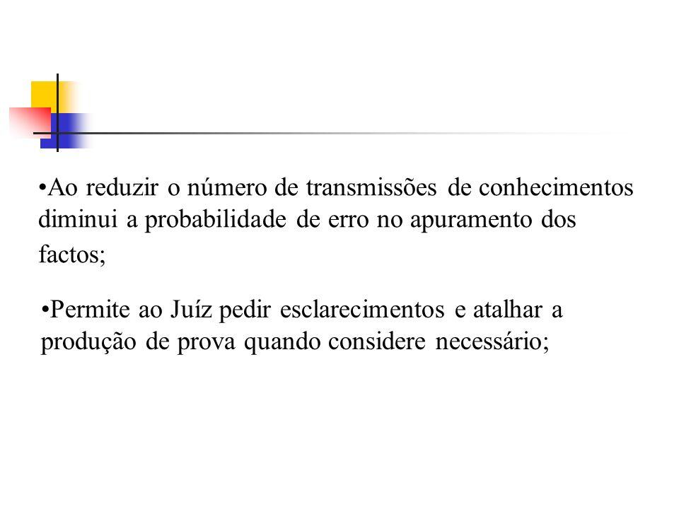 Ao reduzir o número de transmissões de conhecimentos diminui a probabilidade de erro no apuramento dos factos;
