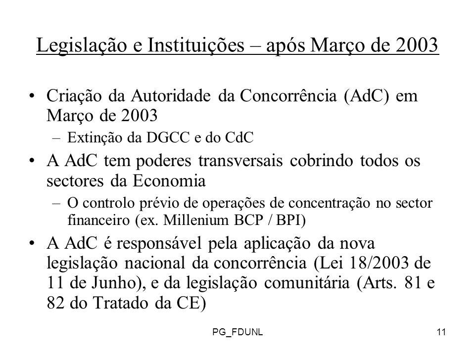 Legislação e Instituições – após Março de 2003