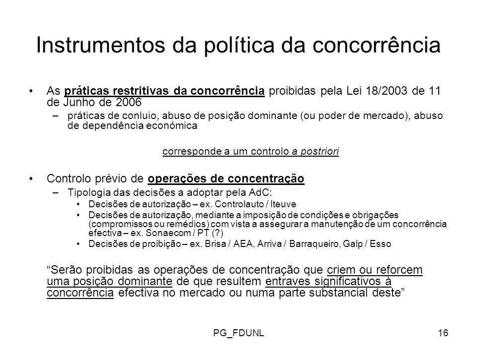 Instrumentos da política da concorrência
