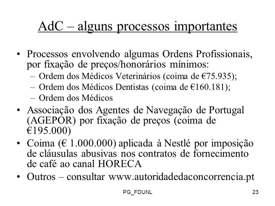 AdC – alguns processos importantes
