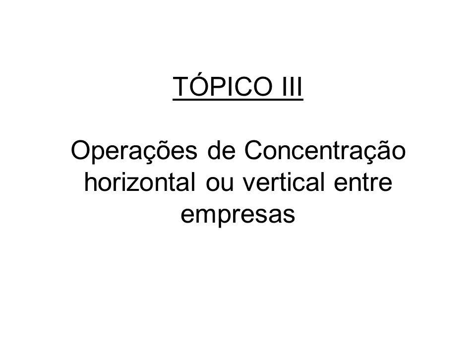 TÓPICO III Operações de Concentração horizontal ou vertical entre empresas