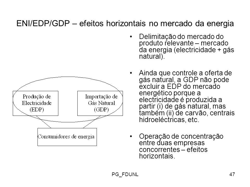 ENI/EDP/GDP – efeitos horizontais no mercado da energia