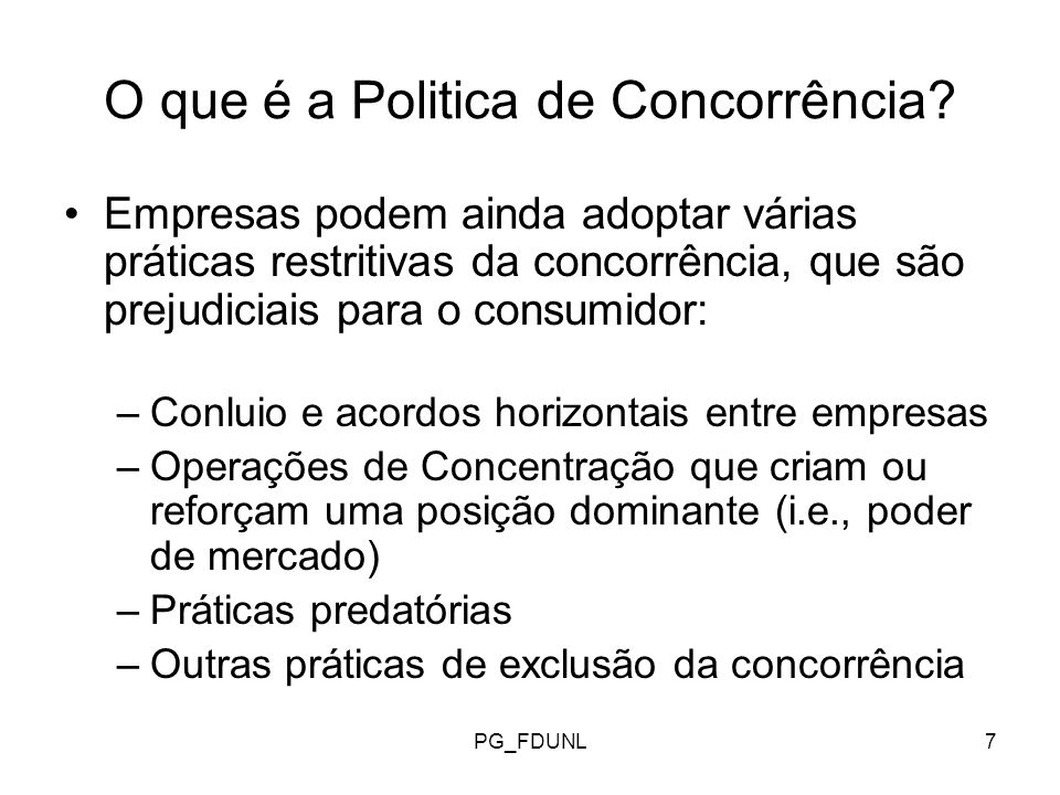 O que é a Politica de Concorrência