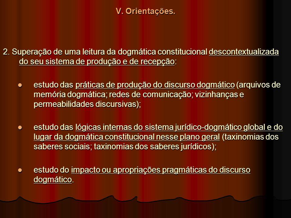 V. Orientações. 2. Superação de uma leitura da dogmática constitucional descontextualizada do seu sistema de produção e de recepção: