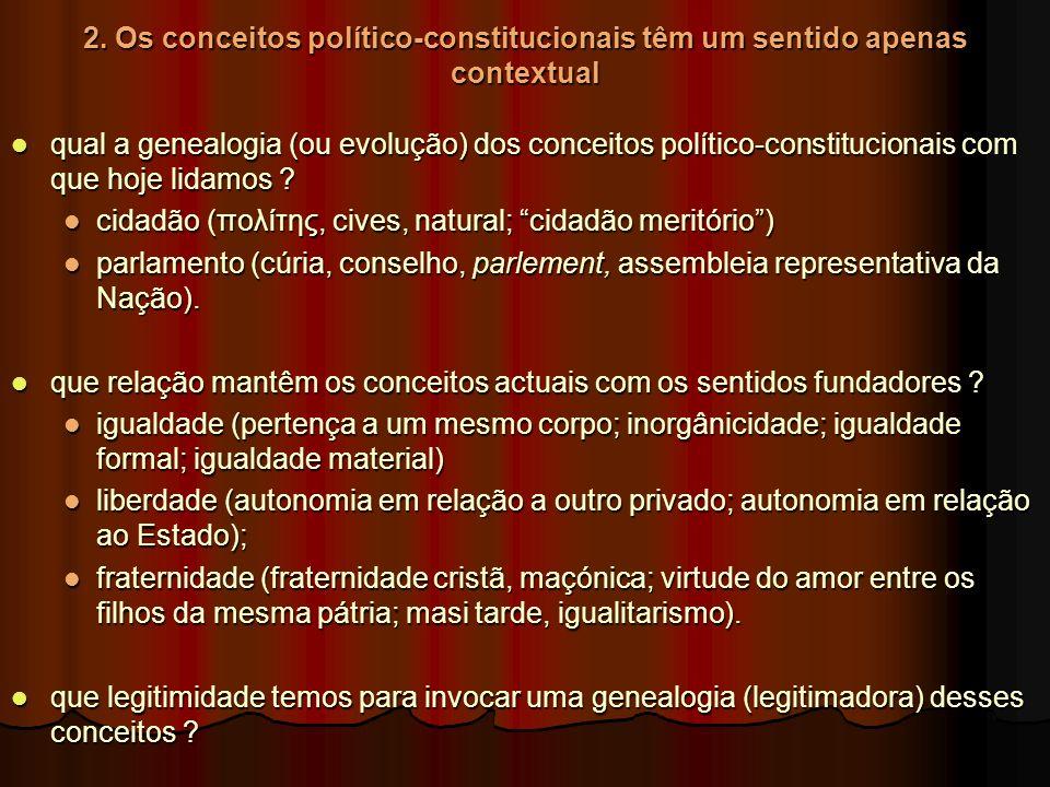 2. Os conceitos político-constitucionais têm um sentido apenas contextual