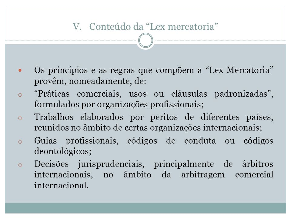 Conteúdo da Lex mercatoria