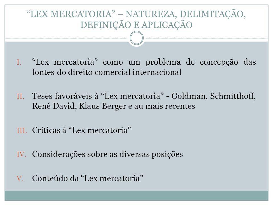 LEX MERCATORIA – NATUREZA, DELIMITAÇÃO, DEFINIÇÃO E APLICAÇÃO