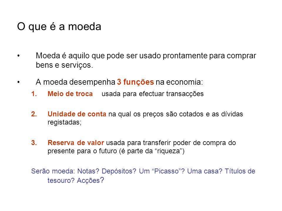 O que é a moedaMoeda é aquilo que pode ser usado prontamente para comprar bens e serviços. A moeda desempenha 3 funções na economia: