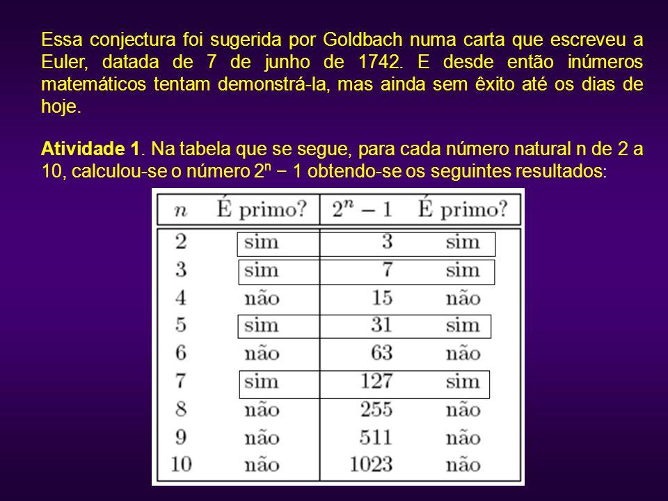 Essa conjectura foi sugerida por Goldbach numa carta que escreveu a Euler, datada de 7 de junho de 1742. E desde então inúmeros matemáticos tentam demonstrá-la, mas ainda sem êxito até os dias de hoje.
