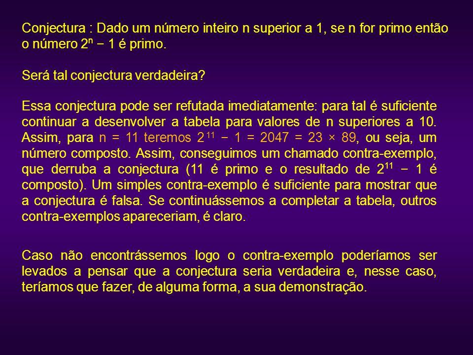 Conjectura : Dado um número inteiro n superior a 1, se n for primo então o número 2n − 1 é primo.
