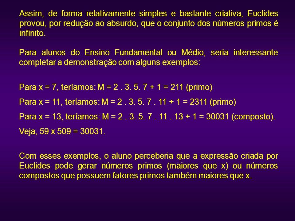 Assim, de forma relativamente simples e bastante criativa, Euclides provou, por redução ao absurdo, que o conjunto dos números primos é infinito.