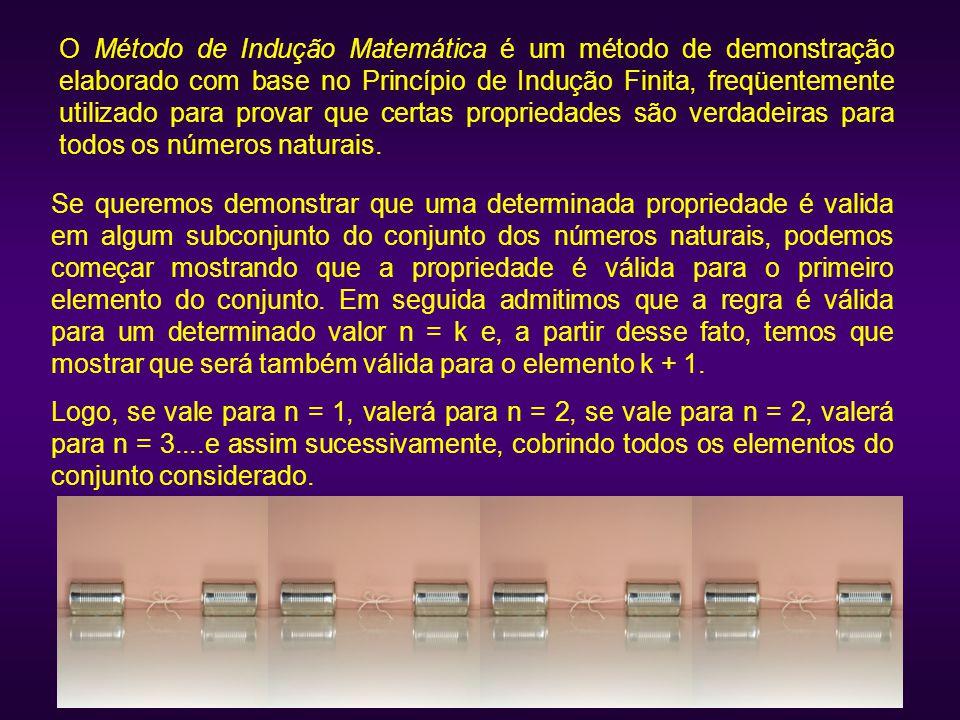 O Método de Indução Matemática é um método de demonstração elaborado com base no Princípio de Indução Finita, freqüentemente utilizado para provar que certas propriedades são verdadeiras para todos os números naturais.