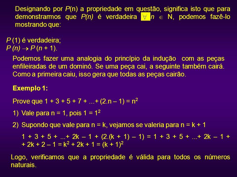 Designando por P(n) a propriedade em questão, significa isto que para demonstrarmos que P(n) é verdadeira n  N, podemos fazê-lo mostrando que: