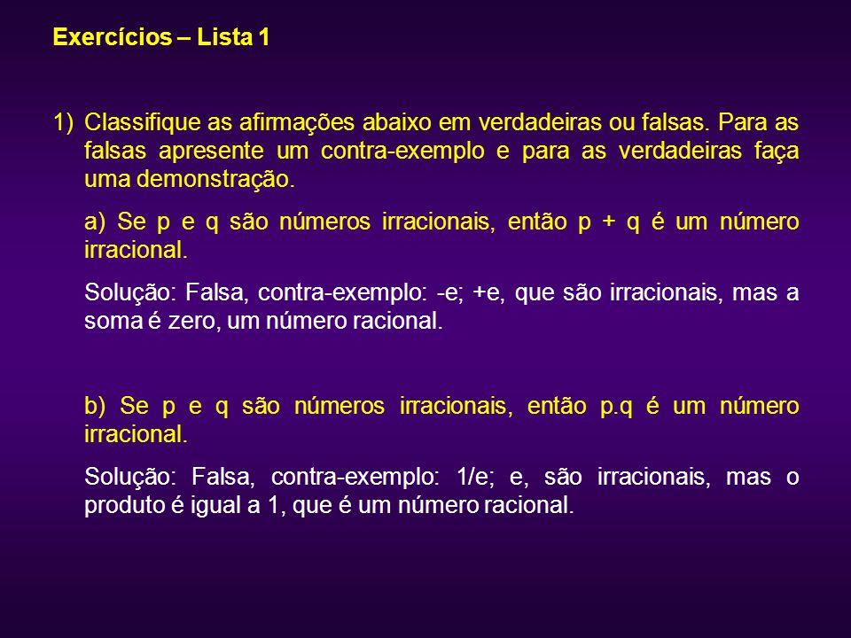 Exercícios – Lista 1