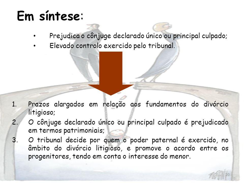 Em síntese: Prejudica o cônjuge declarado único ou principal culpado;
