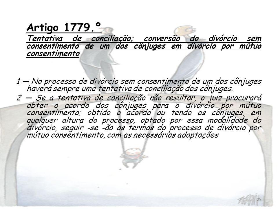 Artigo 1779.ºTentativa de conciliação; conversão do divórcio sem consentimento de um dos cônjuges em divórcio por mútuo consentimento.