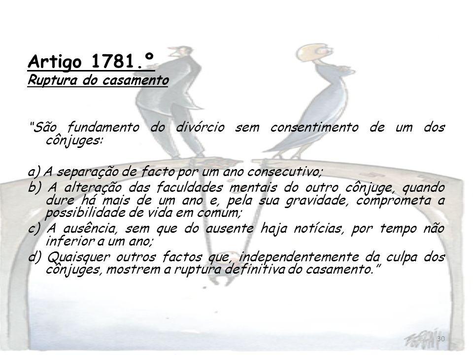 Artigo 1781.º Ruptura do casamento