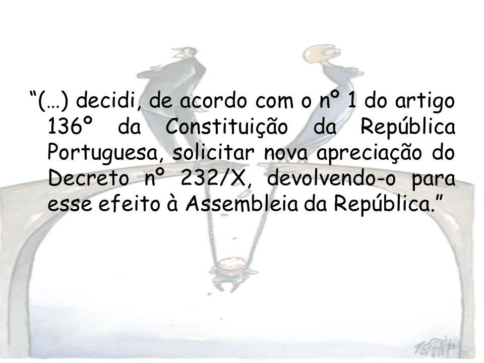(…) decidi, de acordo com o nº 1 do artigo 136º da Constituição da República Portuguesa, solicitar nova apreciação do Decreto nº 232/X, devolvendo-o para esse efeito à Assembleia da República.