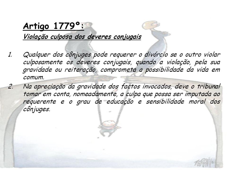 Artigo 1779º: Violação culposa dos deveres conjugais