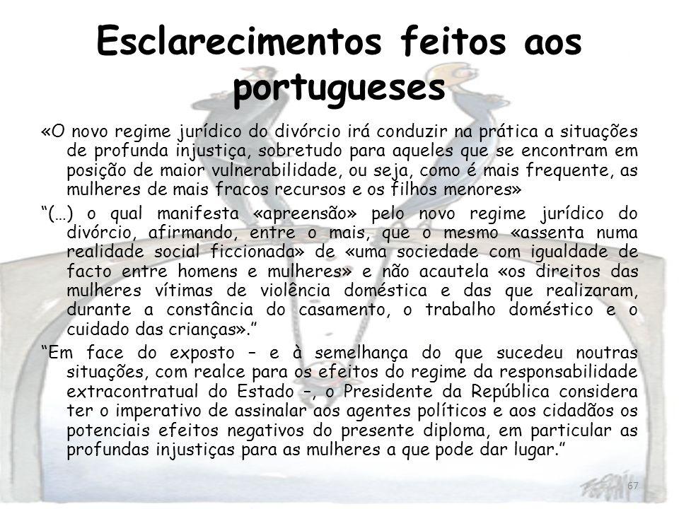 Esclarecimentos feitos aos portugueses