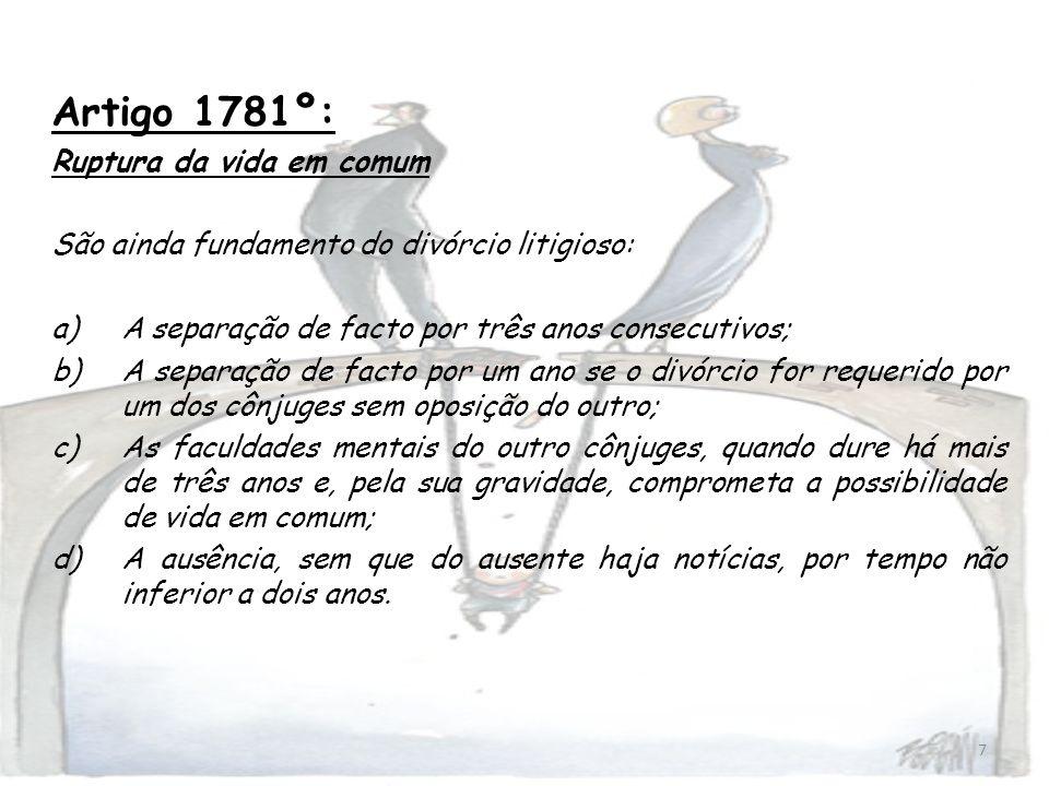 Artigo 1781º: Ruptura da vida em comum
