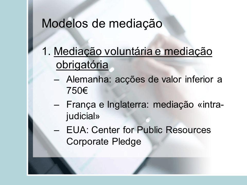 Modelos de mediação 1. Mediação voluntária e mediação obrigatória