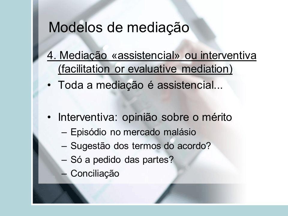 Modelos de mediação4. Mediação «assistencial» ou interventiva (facilitation or evaluative mediation)