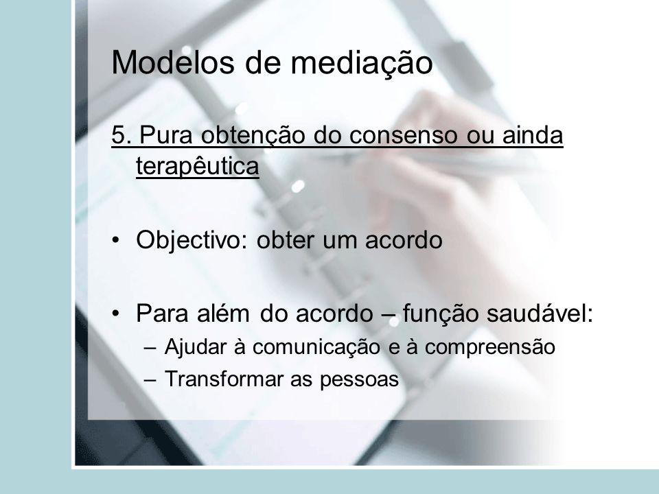 Modelos de mediação 5. Pura obtenção do consenso ou ainda terapêutica