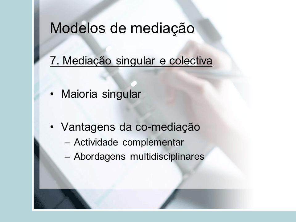 Modelos de mediação 7. Mediação singular e colectiva Maioria singular