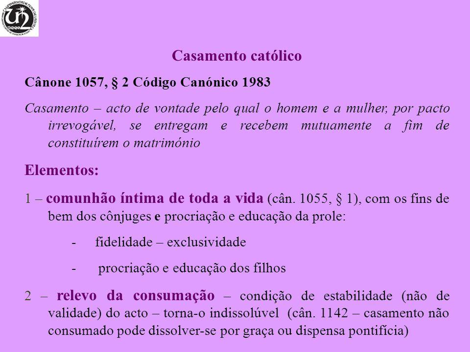 Casamento católico Elementos: Cânone 1057, § 2 Código Canónico 1983