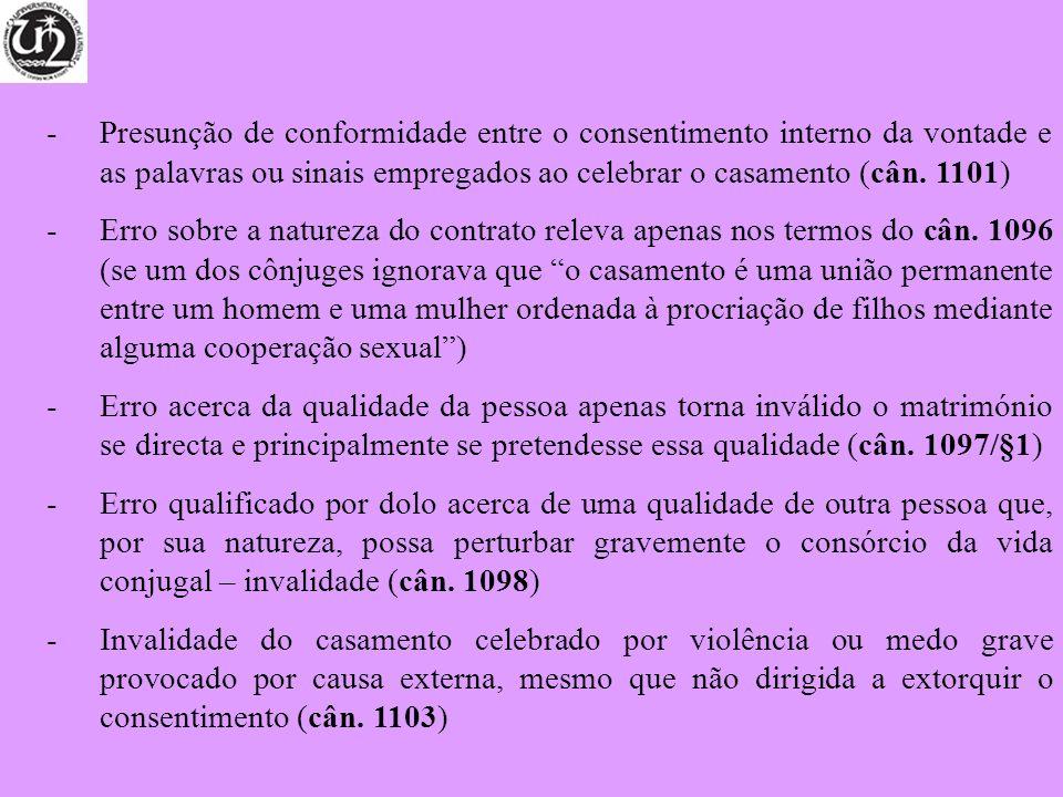 Presunção de conformidade entre o consentimento interno da vontade e as palavras ou sinais empregados ao celebrar o casamento (cân. 1101)