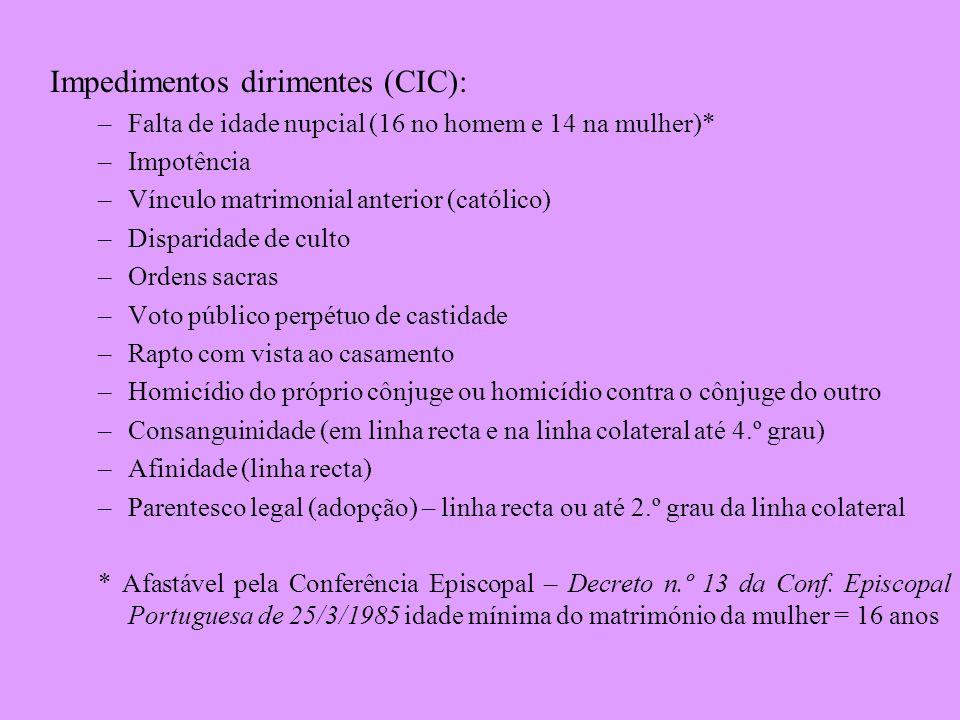 Impedimentos dirimentes (CIC):
