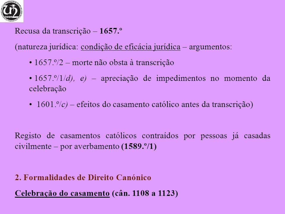 Recusa da transcrição – 1657.º