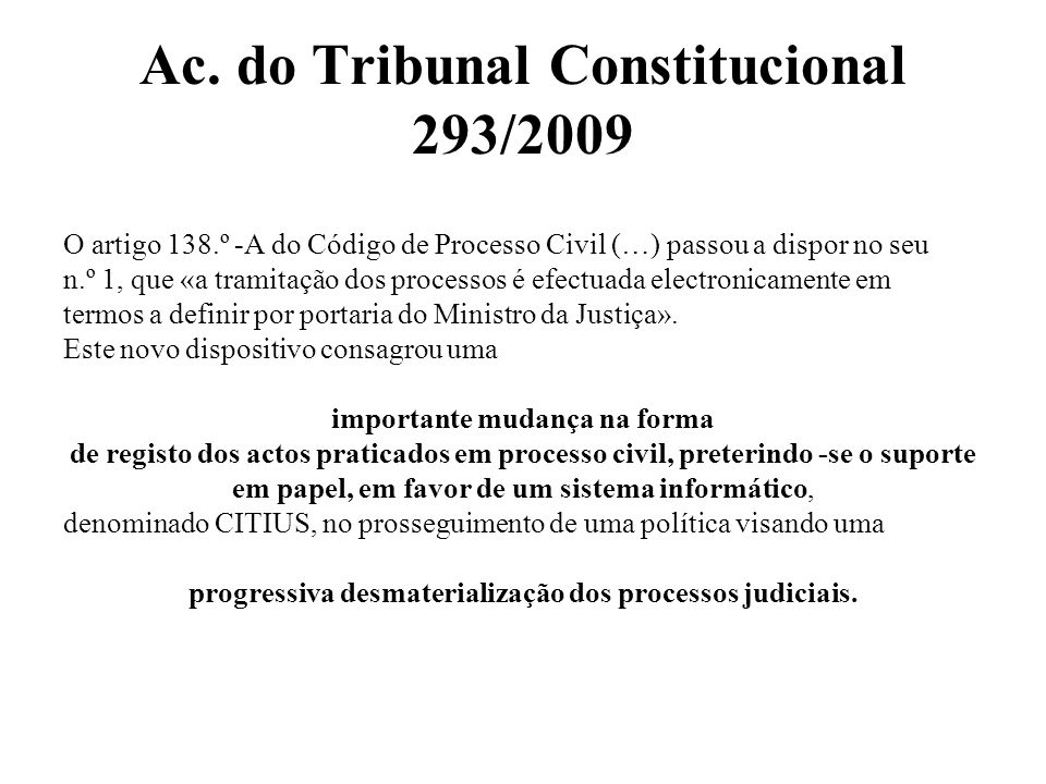 Ac. do Tribunal Constitucional 293/2009